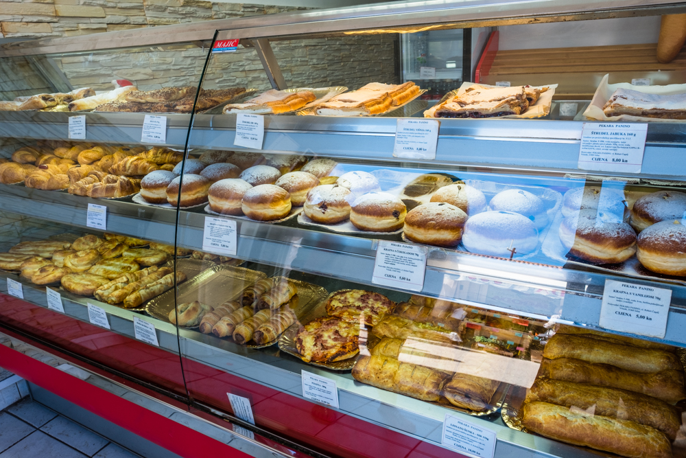 The bakeries in Croatia are AMAZING! Everything is baked fresh. I highly recommend the burek, which is phyllo dough stuffed with either meat, cheese, or a chocolate/sweet filling. I had this almost everyday.