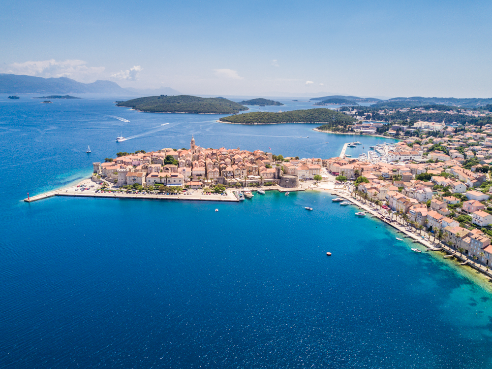 The small town of Korcula, surrounded by the Adriatic Sea