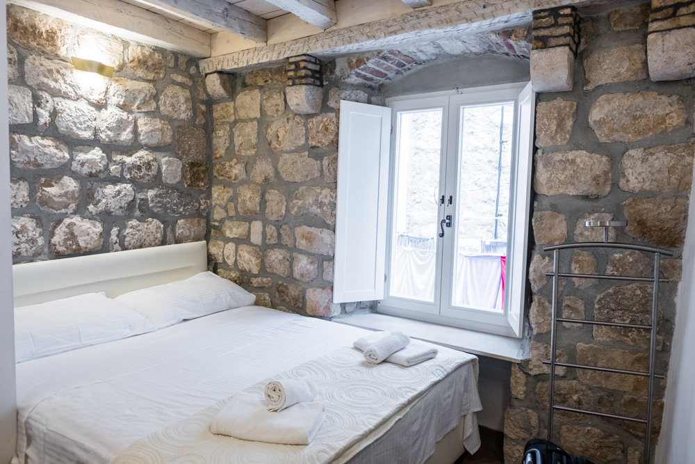 Like many European towns, the rooms are very small, but cozy. Apartments Bottega was in a very convenient location inside of Old Town Dubrovnik. The stone walls added a nice touch to the ancient architecture of the building.