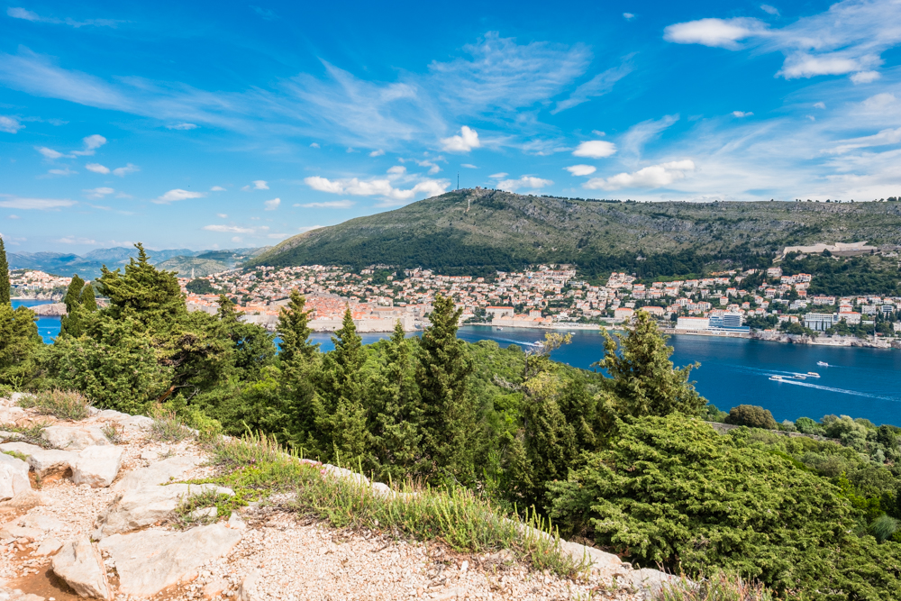 The view from Fort Royal is well worth the hike to get up here. You can see Dubrovnik in the distance.