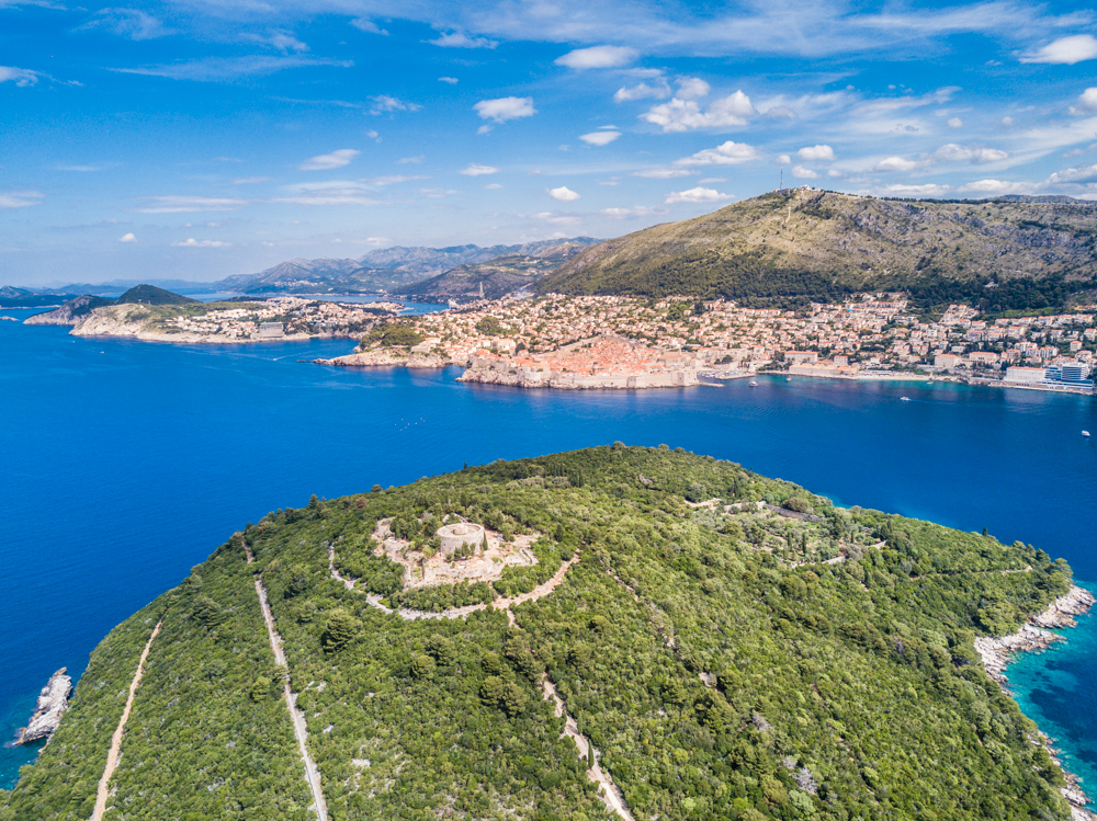 A bird's eye view of Fort Royal (centered on Lokrum Island) and Dubrovnik.