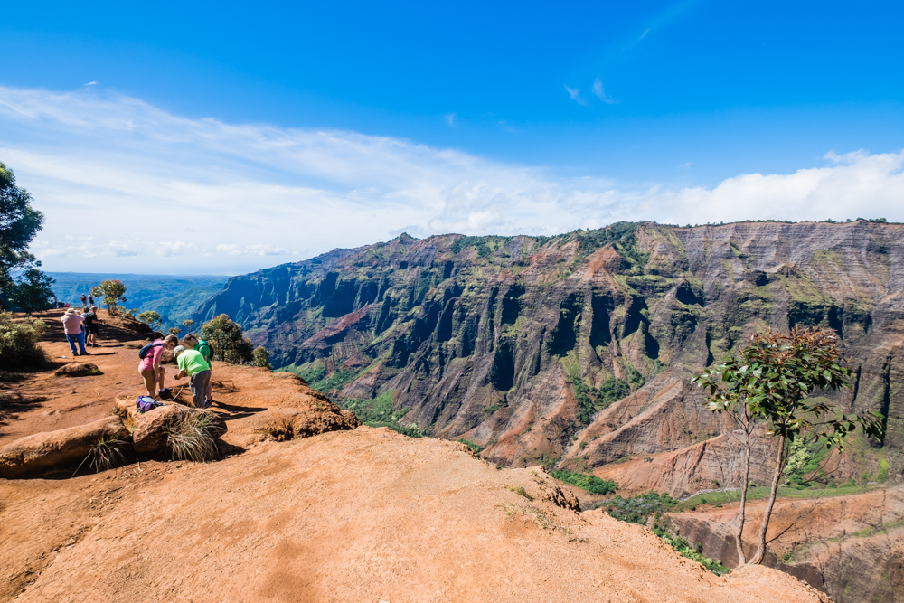 The edge of Waimea Canyon. There were no guard rails, so be extra careful. We saw a few people lose their footing due to the smooth surface of the rock.