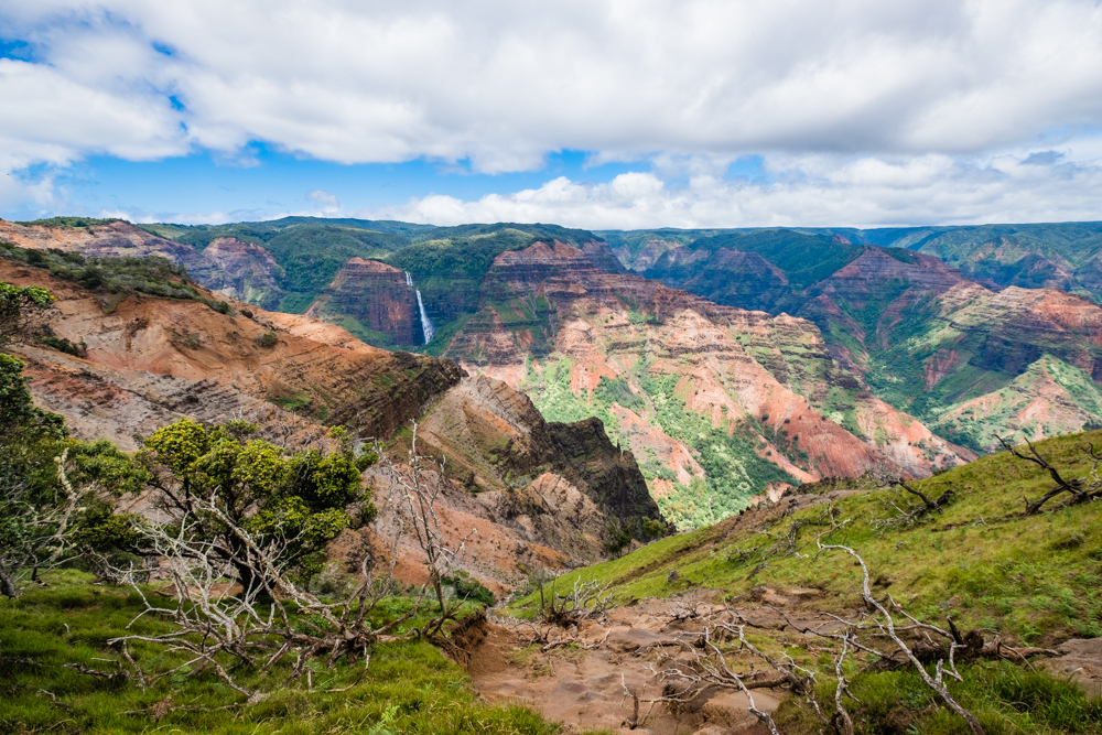 waimea canyon waterfall kauai hawaii