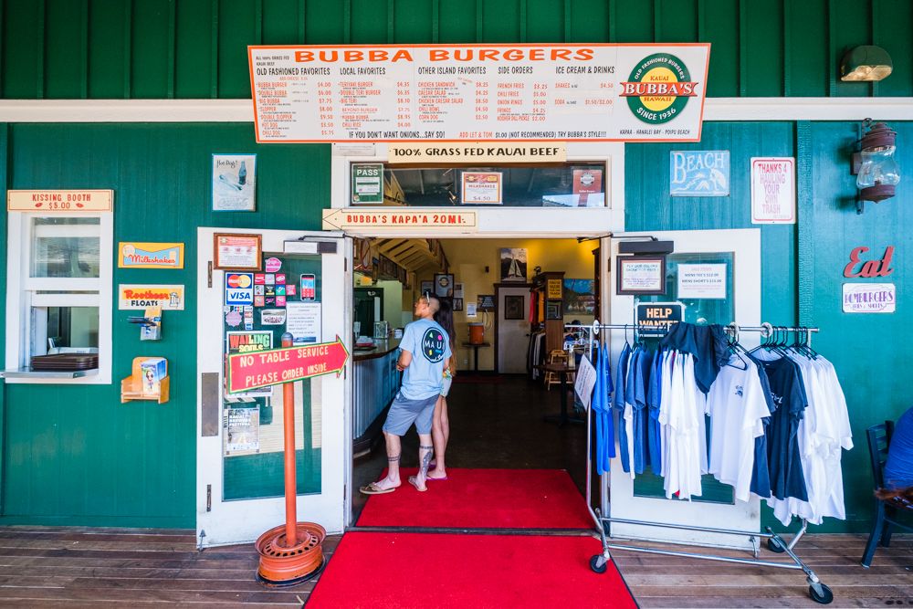 There's nothing better after a long day of hiking than a good old-fashioned burger. Very affordable and fresh ingredients, Bubba's burgers are made from 100% grass fed Kauai beef