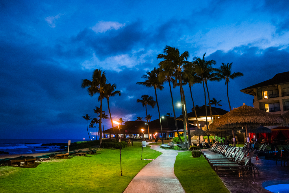 The resort has a different feel at night. The tiki torches and string lights, the sound of crashing waves and the ocean breeze, and couples walking leisurely along the beach. It almost makes you forget that time exists.