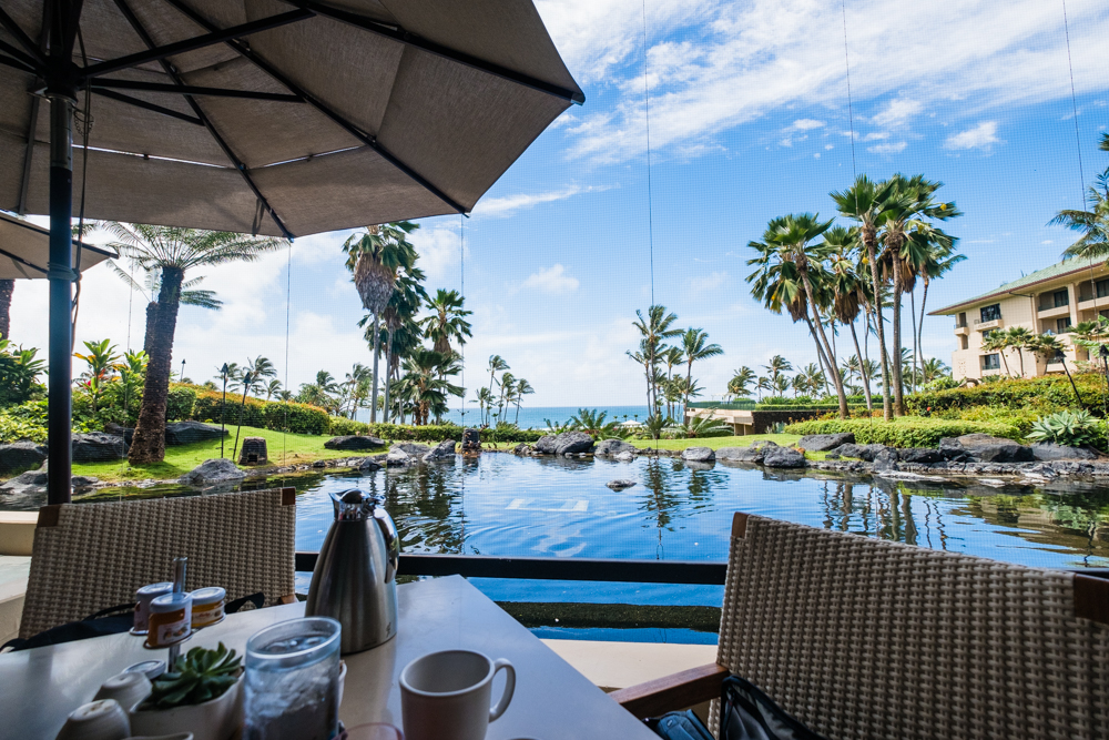 We did not have reservations, but we managed to luck out! Our incredible view of the pond and beach at Ilima Terrace.