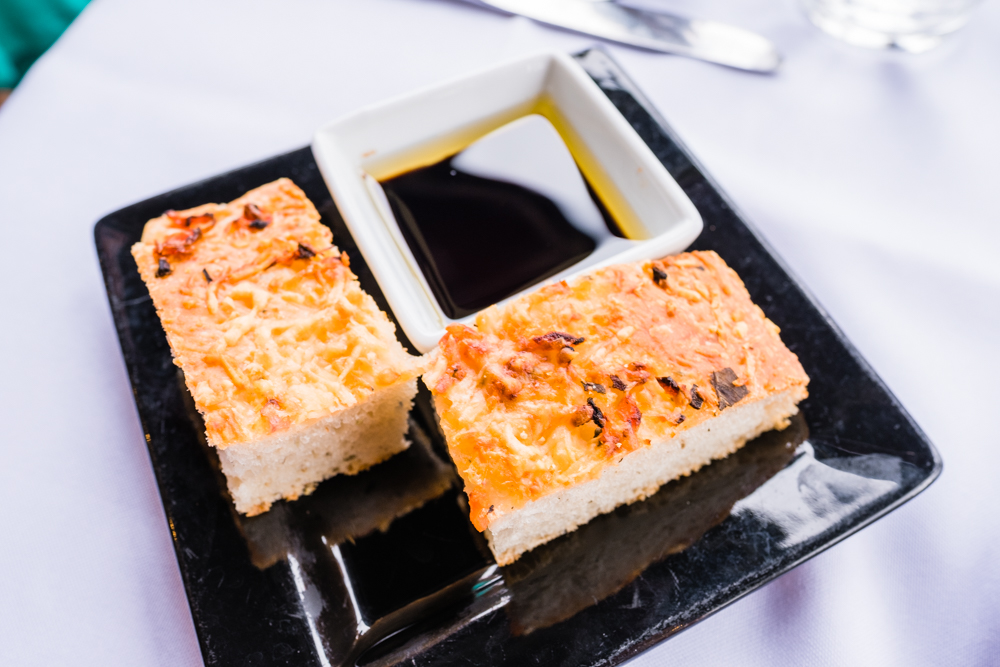 Complimentary focaccia bread with olive oil/balsamic dipping sauce