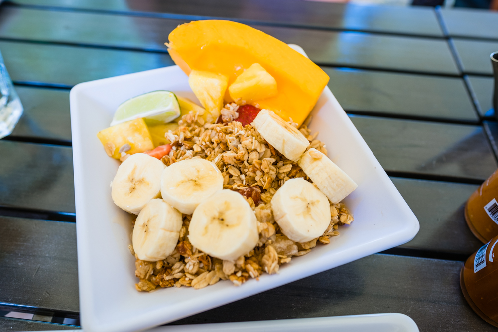 Local Anahola Tropical granola and fruit. The granola was so good that we ordered some once we got home.
