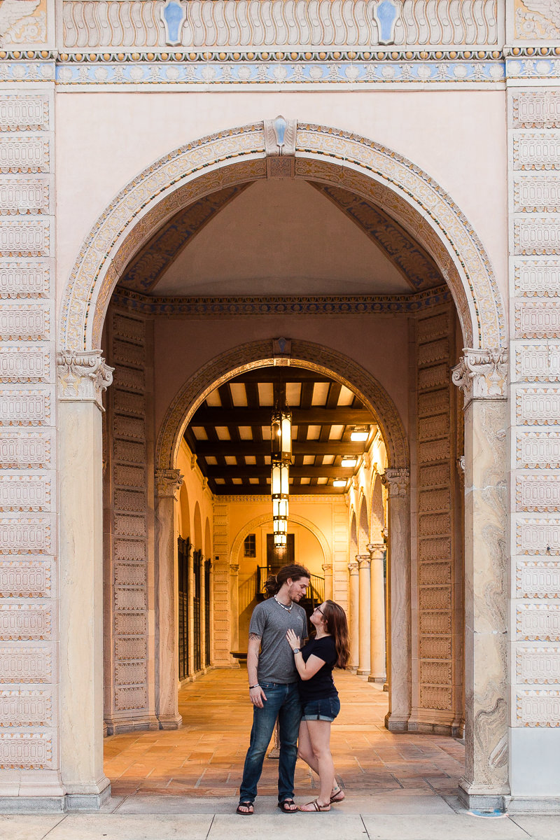 Engaged couple in downtown St. Petersburg, Florida