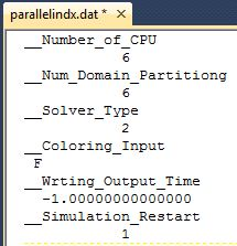 Sample parallelindx.dat file for parallelization with 6 CPUs