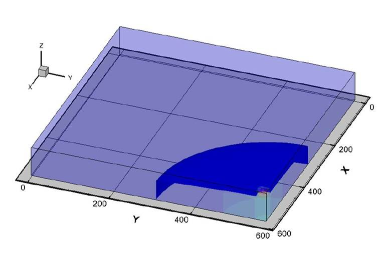 Model domain showing a hydraulic head rise during an infiltration event.