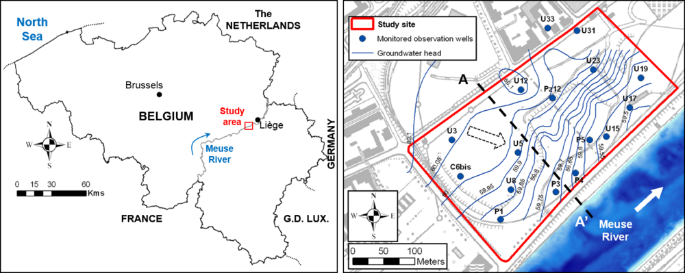 Figure 1. Location of the study site adjacent to the Meuse River, monitored wells U5 and U3 (114 and 207 m distance from the river, respectively) and groundwater head contours as measured in April 2006.
