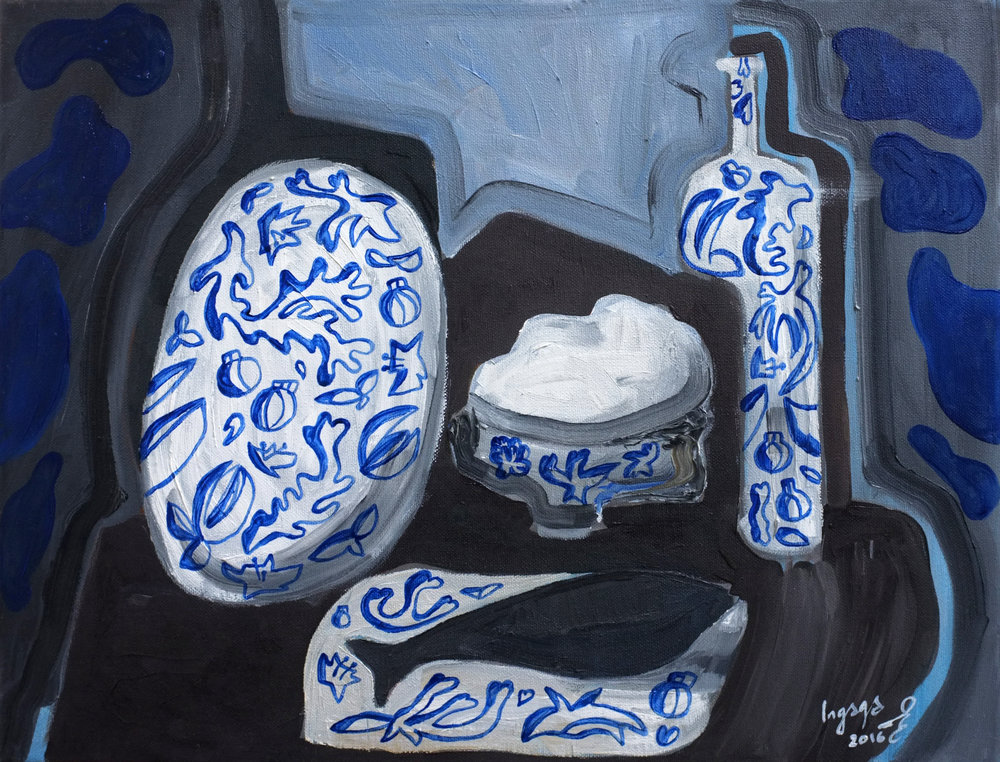 Dinner for one, 40x50cm, oil on canvas,   2016   Blue ornamented dinner set in style  View on  Saatchi