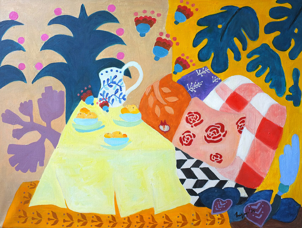 One sunny day in Puebla, 70 x 90cm, oil on canvas, 2015 A painting inspired by Mexican traditions and Mexican energy, after visiting authentic town Puebla View on Saatchi