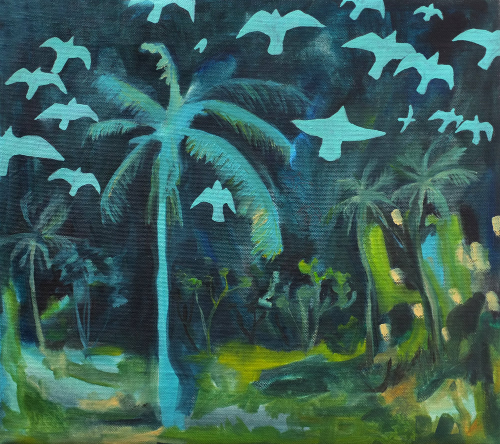 Soul purpose, 50x50cm, oil on canvas, 2016   Souls and birds finding their way  View on  Saatchi