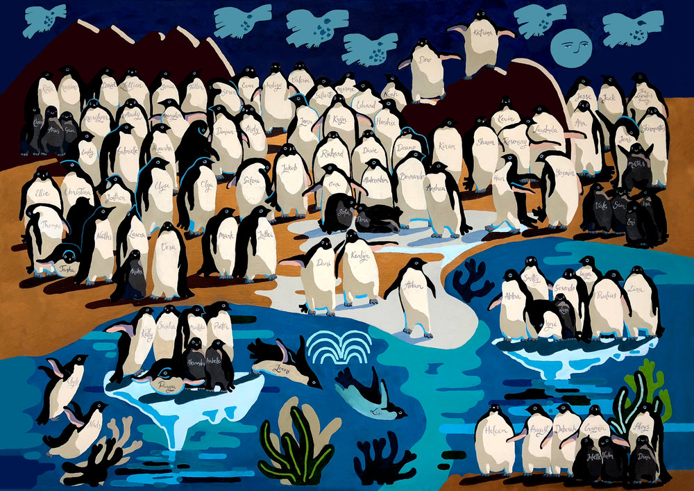 The Grand Painting Of Penguins,   190x142cm / 75x56in, premium acrylic paint on linen canvas, 2018    Art commission project to raise awareness of endangered Penguins colonies on  Kickstarter platform .