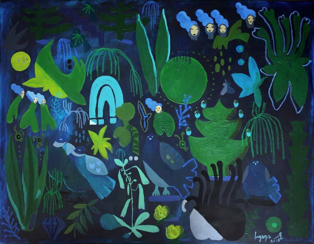 DEEP BLUE  60 x 80cm  Acrylic and oil pastel on canvas / 2018
