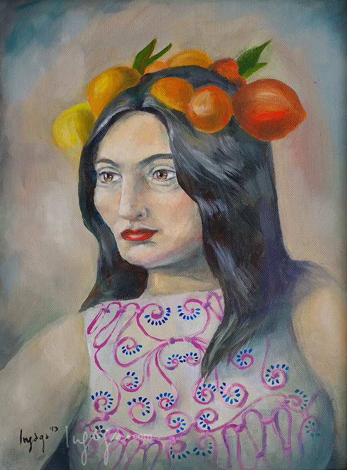 WOMAN WITH FRUIT CROWN  30x40cm  Oil on canvas / 2014