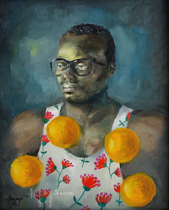 MAN WITH ORANGES  24 x 30cm  Oil on linen / 2014