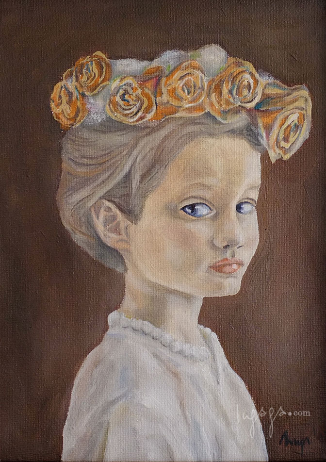 GIRL WITH THE FLOWER CROWN  18 x 20cm  Oil on canvas / 2014