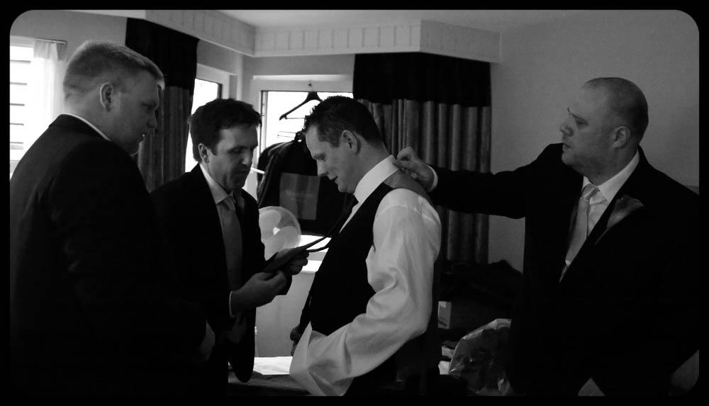 Marwell Hotel Chaps getting ready Wedding photo cardiff best