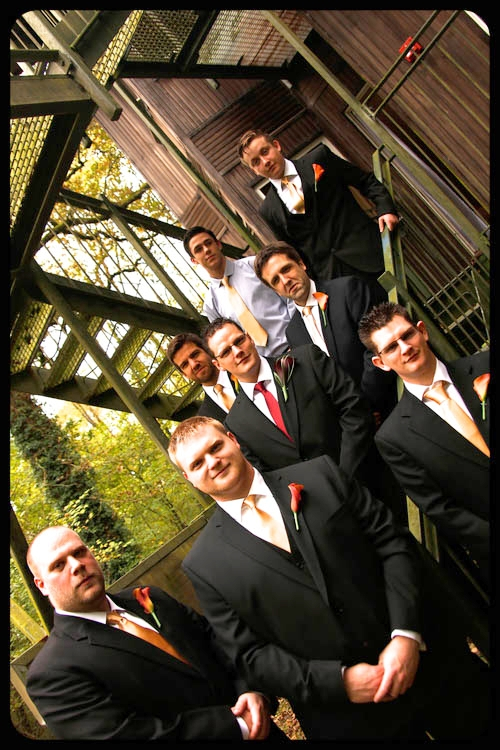 Marwell Hotel Chaps outside ready to go Wedding photo cardiff best