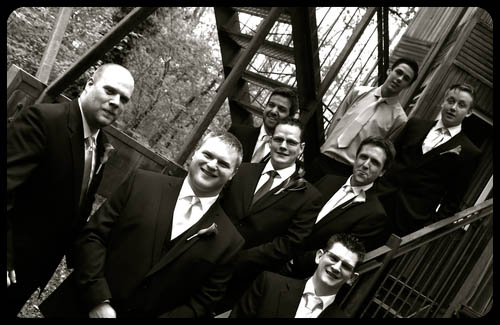 Marwell Hote chaps outside black and whitel Wedding photo cardiff best