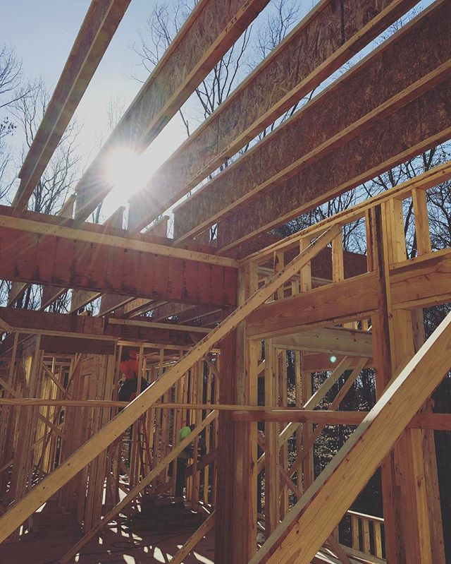 Beautiful day to frame in February. 80 degrees and sunny!  #customhome #custombuilder #homebuilder #generalcontractor #framer #bridgebuilders30 #marietta #georgia #framing #tji #roughcarpentry