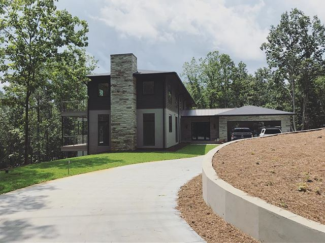 We're putting the finishing touches on this custom home and are excited about how it's shaping up. Contemporary tucked away on a wooded lot in North Georgia--quite a special place.  #customhome #generalcontractor #homebuilder #contemporary #bridgebuilders30 #stonework #chimney #builder