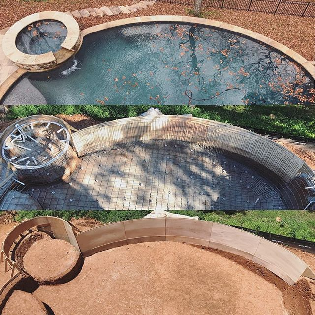 Happy Friday. Enjoy the process!  #generalcontractor #homebuilder #customhome #pool #backyard #belgard #flagstone #spa #jacuzzi #pebbletech #marietta #georgia #shotcrete