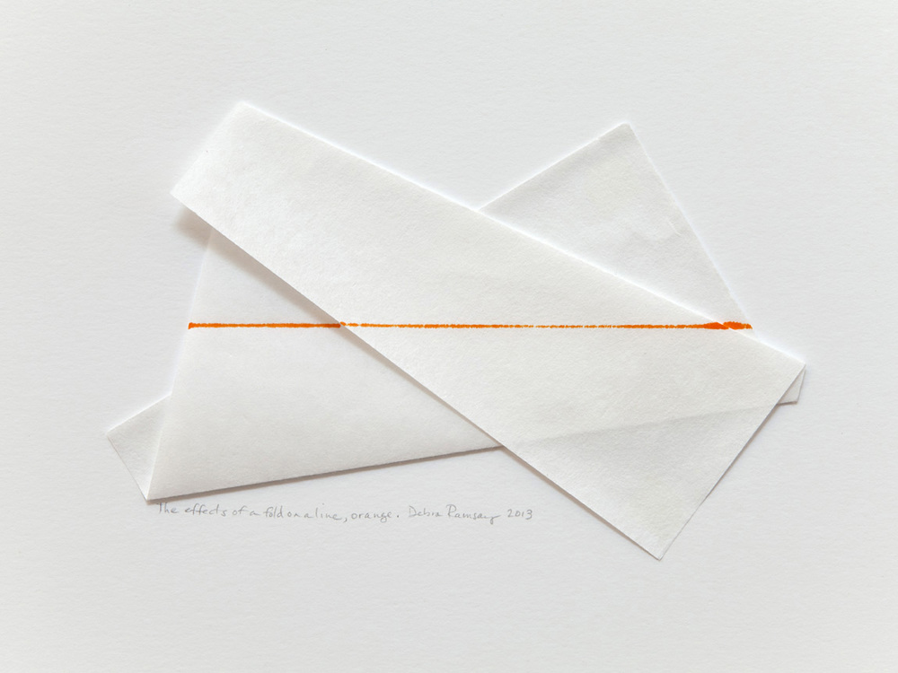 The effects of a fold on a line, orange.