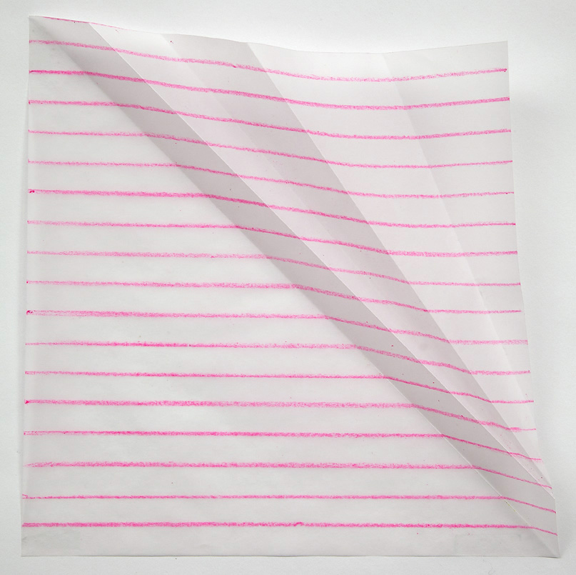 The effects of a fold on a Pink line, 10 inches square, colored pencil on vellum, 2013.