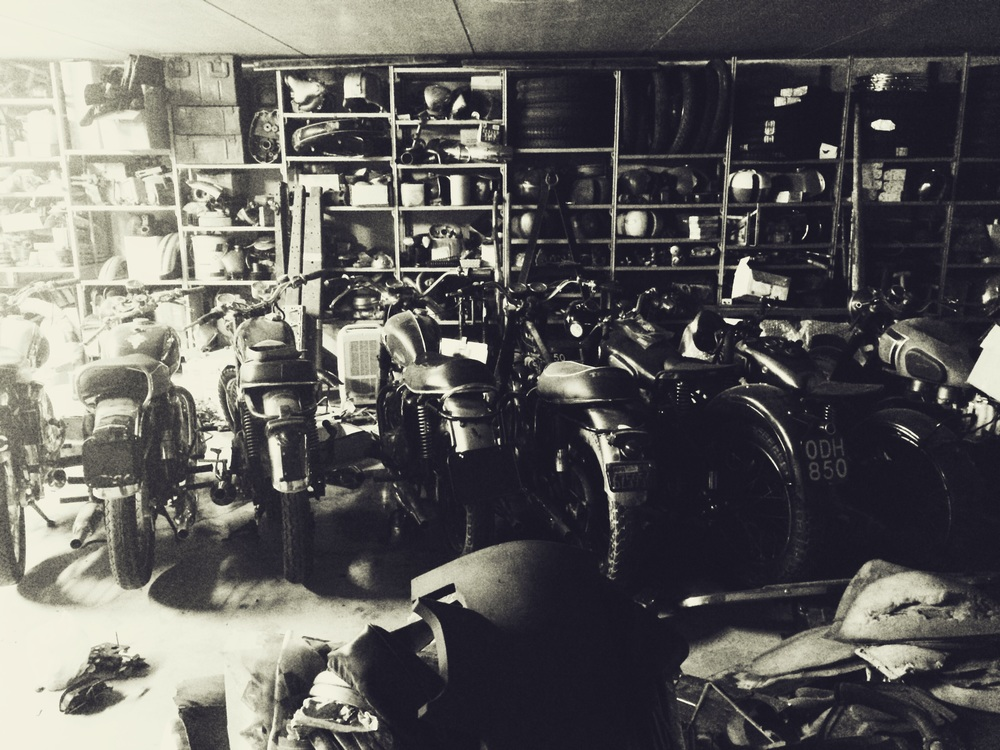 Numerous motor bikes