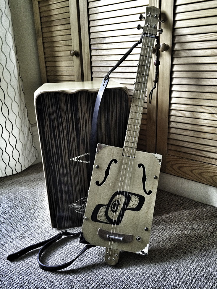 My cajon and one of my self-built 4 string guitars