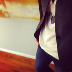JCrew grey blazer & silk blouse,AG Skinny Boyfriend jeans, Blankshoppe necklace