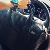 Jack Spade Mason Davis Leather Briefcase in Black