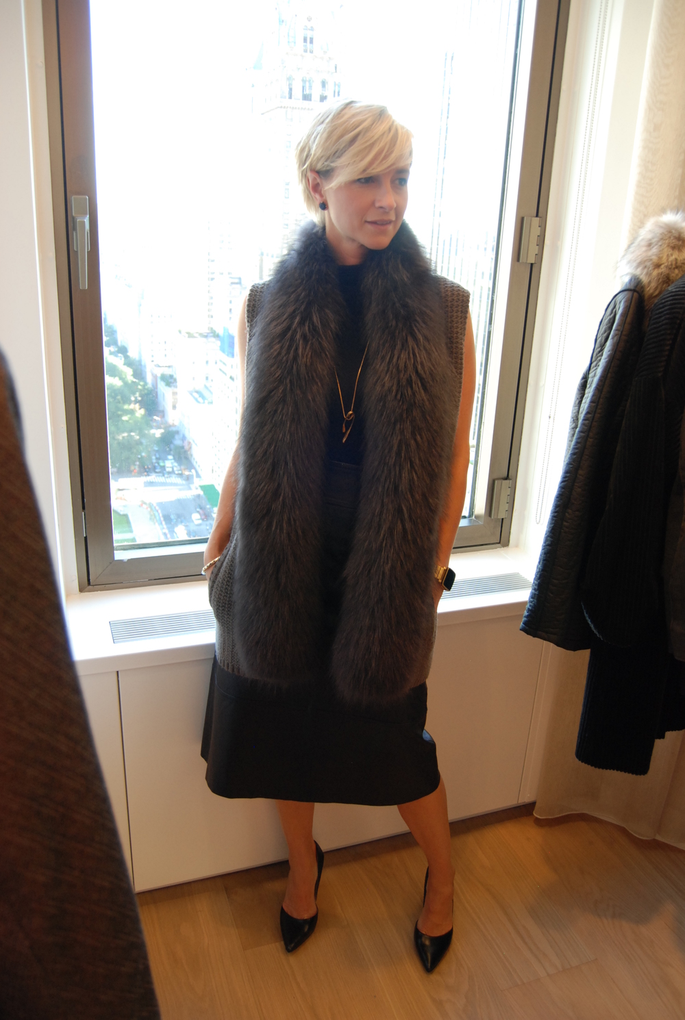 The Raccoon Faux Fur Collar Gilet, Worth New York