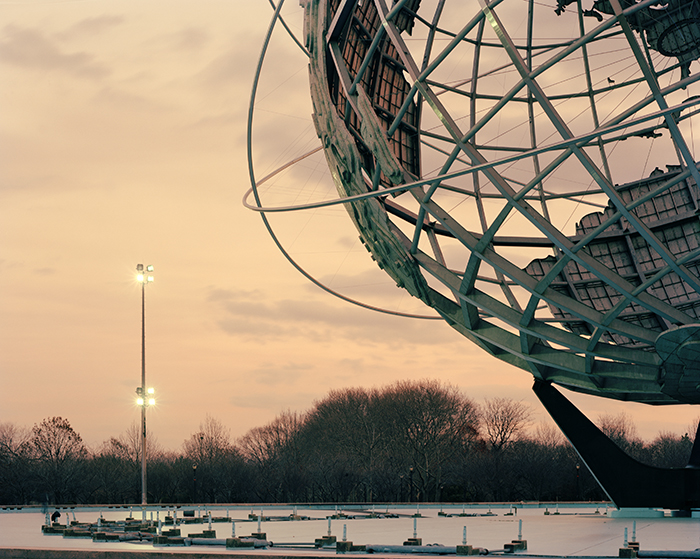 "New York 1964 World's Fair, ""Peace Through Understanding,"" Unisphere at Dusk, 2010 Digital C-Print Edition of 10 (5 of each size) 16""x20"" – $650 11""x14"" – $400"