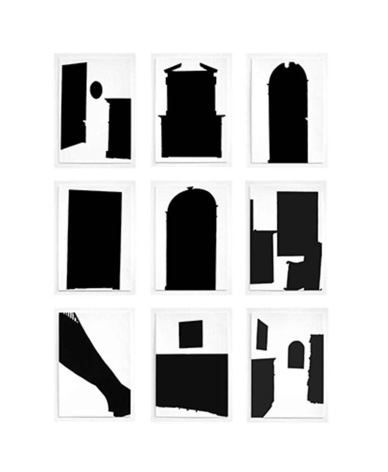 """Steel Stillman 9 untitled drawings  1997  Flashe on paper  each 11.5"""" x 8"""""""