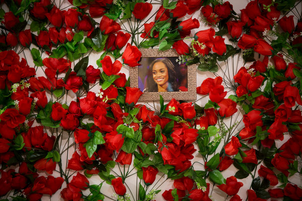 "The artists and curators Janie Korn and Artie Niederhoffer's ""Rose Installation,"" featuring the ""Bachelorette"" Rachel Lindsay, on display at ""Here for the Right Reasons."""
