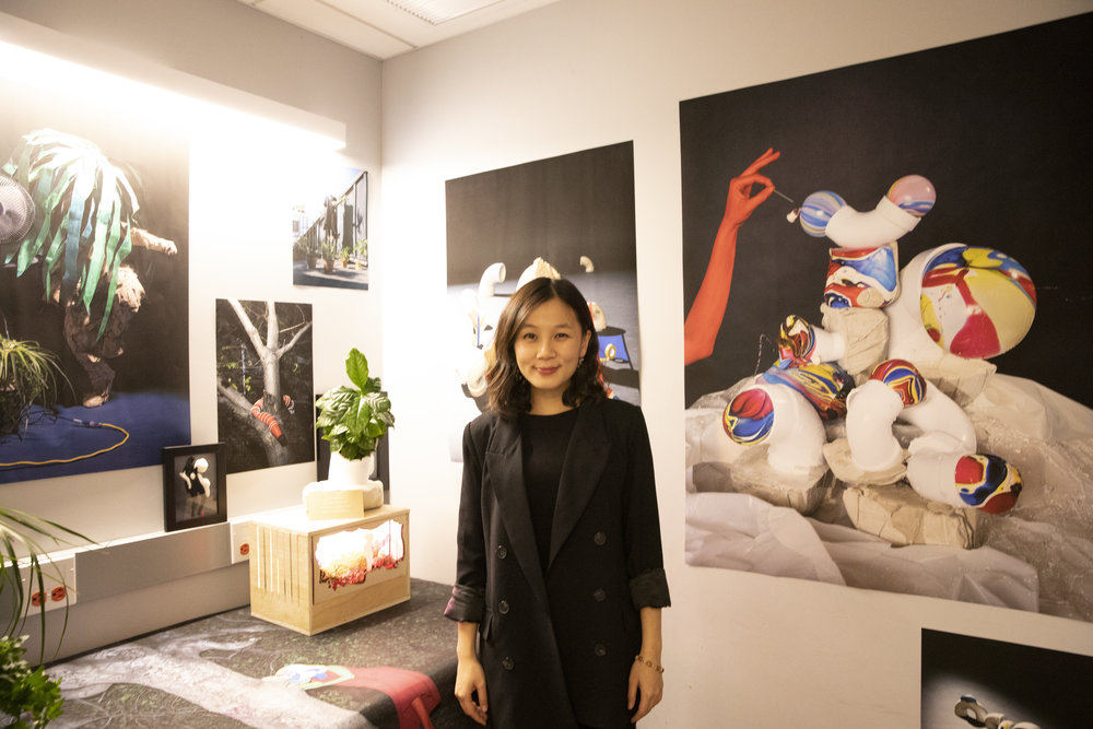 Yi Hsuan Lai  with her installation at Fall Salon. Details below.