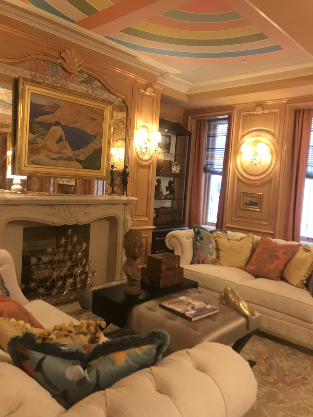 Barbara Ostrom Associates room was incredible. The Stella-esque ceiling .... the fringe on the pillows. the incredible color choices and layers textures and details .. what can i say... it was a feast for the eyes.  Barbara Ohstrom ASID