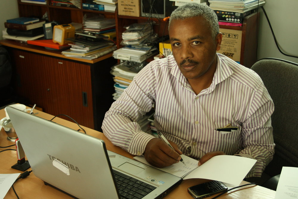 Samsom Tsegaye, SEF Ethiopia Country Director, at work in Addis Ababa (Photo: Brittany Gibbons)