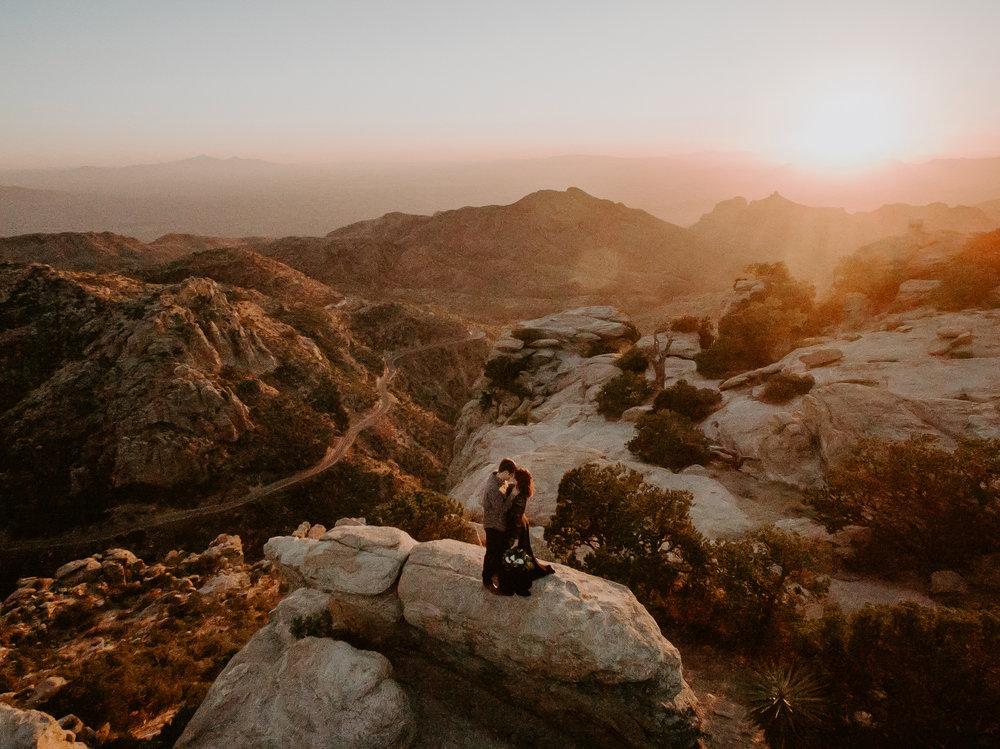 Drone shot couple's anniversary session at Mount Lemmon in Tucson Arizona