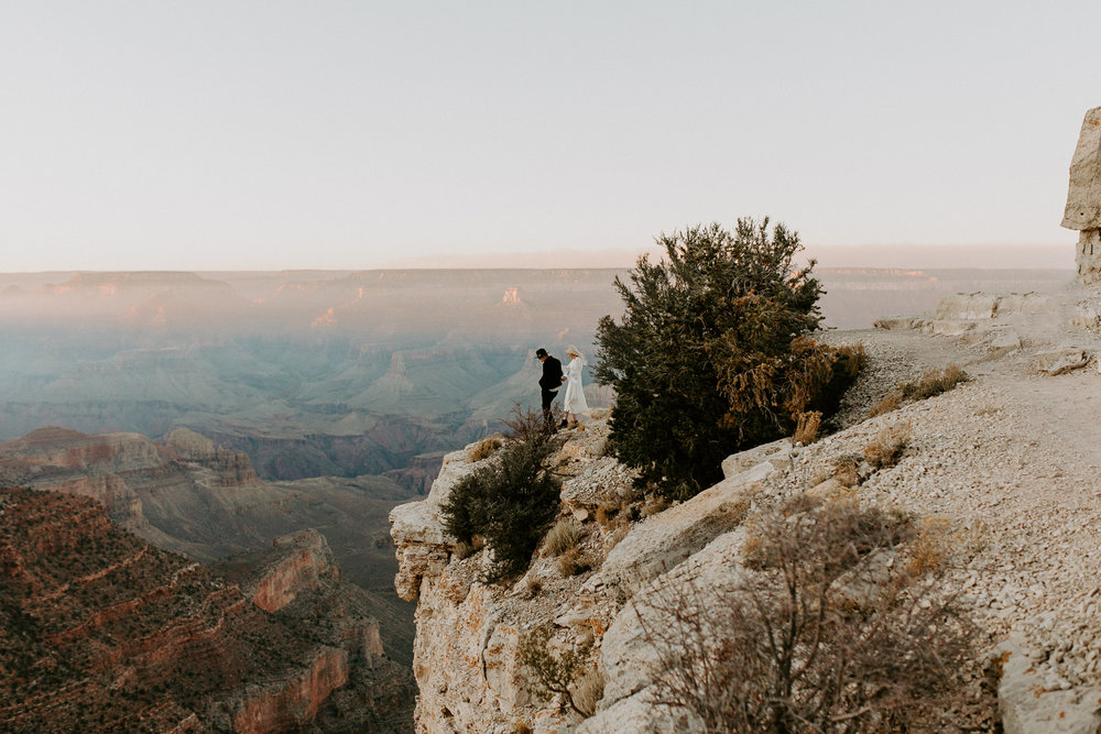 Couples engagement session at Shoshone Point in Grand Canyon National Park in Arizona