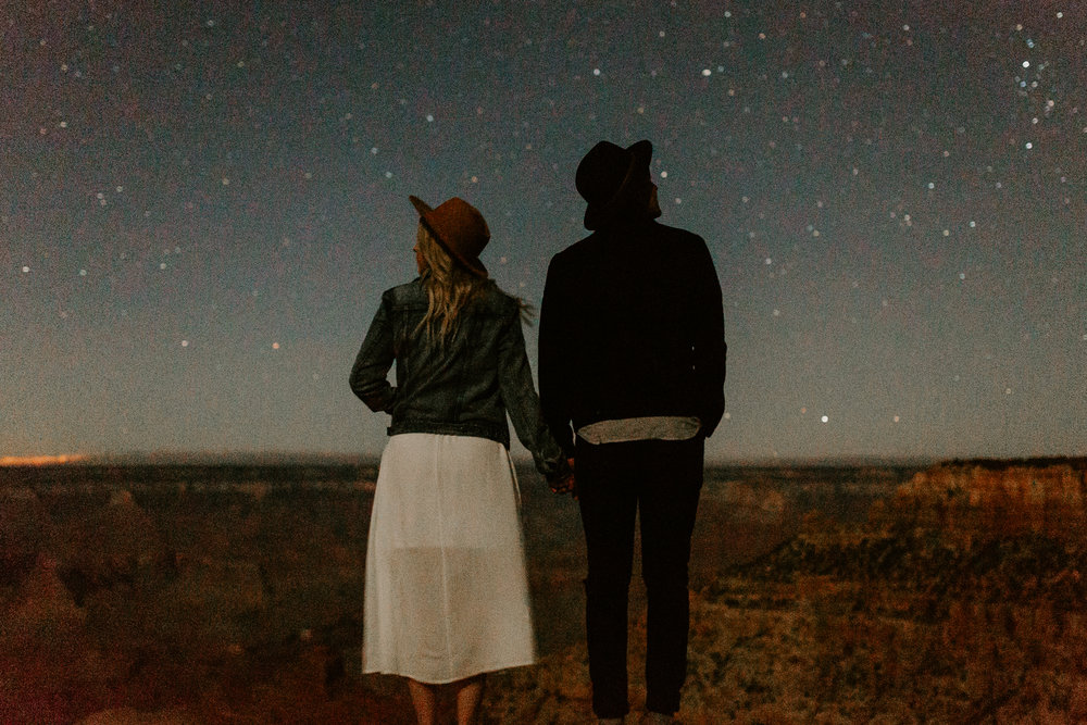 Starry night couples engagement session at Shoshone Point in Grand Canyon National Park in Arizona