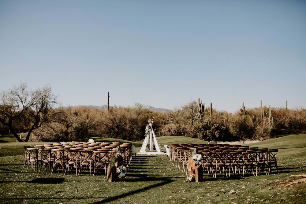 Ceremony space at Tonto Bar and Grill wedding venue in Arizona