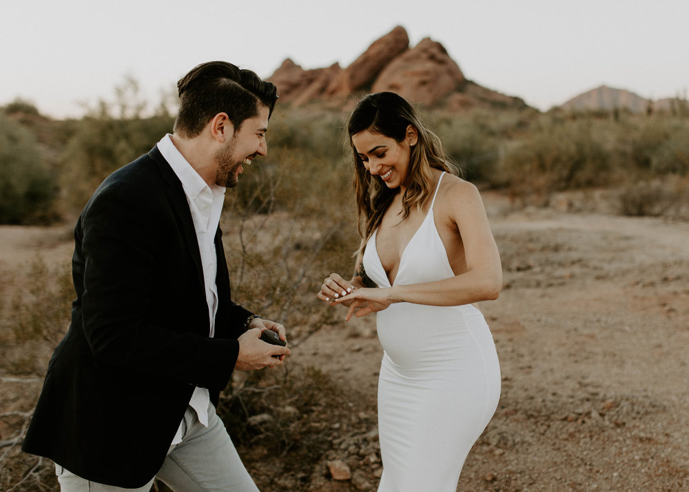 Maternity Surprise Proposal at Hole in the Rock at Papago Park in Phoenix, Arizona