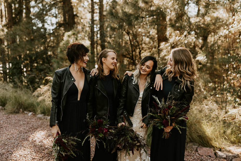 Bridal party at A Frame Cabin in Strawberry Hill, Arizona