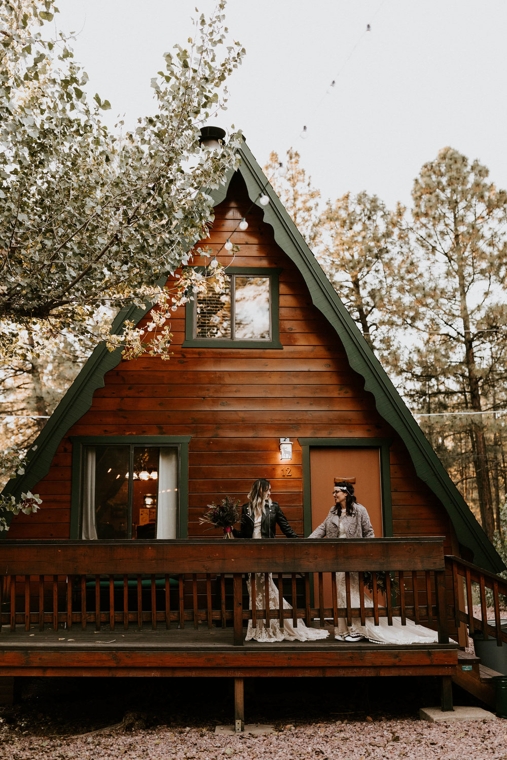 Couple at A Frame Cabin in Strawberry Hill, Arizona